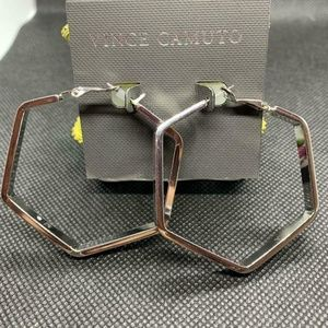 Vince Camuto Silver-Tone Octagon Shaped Earrings